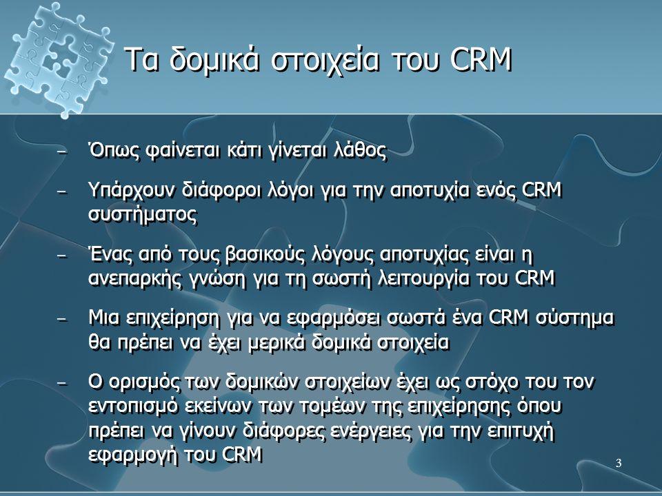 14 − Οι διεργασίες ως δομικό στοιχείο αναφέρονται στον ακριβή προσδιορισμό των διεργασιών του CRM − Το αποτέλεσμα είναι η δημιουργία ενός χάρτη διεργασιών που περιλαμβάνει τους τρόπους με τους οποίους δραστηριοποιείται η επιχείρηση − Όπως το πώς επικοινωνεί η επιχείρηση με τον πελάτη − Το πώς συλλέγει τα δεδομένα − Πως αξιοποιεί τα δεδομένα − Οι διεργασίες ως δομικό στοιχείο αναφέρονται στον ακριβή προσδιορισμό των διεργασιών του CRM − Το αποτέλεσμα είναι η δημιουργία ενός χάρτη διεργασιών που περιλαμβάνει τους τρόπους με τους οποίους δραστηριοποιείται η επιχείρηση − Όπως το πώς επικοινωνεί η επιχείρηση με τον πελάτη − Το πώς συλλέγει τα δεδομένα − Πως αξιοποιεί τα δεδομένα Διεργασίες του CRM