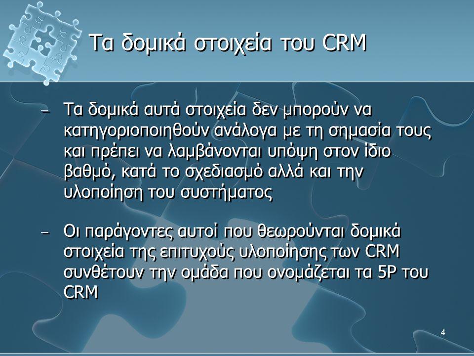 5 − Τα 5P του επιτυχημένου CRM είναι ένας συνδυασμός δομικών λίθων από χαρακτηριστικά που θα πρέπει να αποκτήσει μία επιχείρηση ώστε να βάλει τα θεμέλια για την επιτυχή υιοθέτηση του CRM και είναι τα εξής: 1.