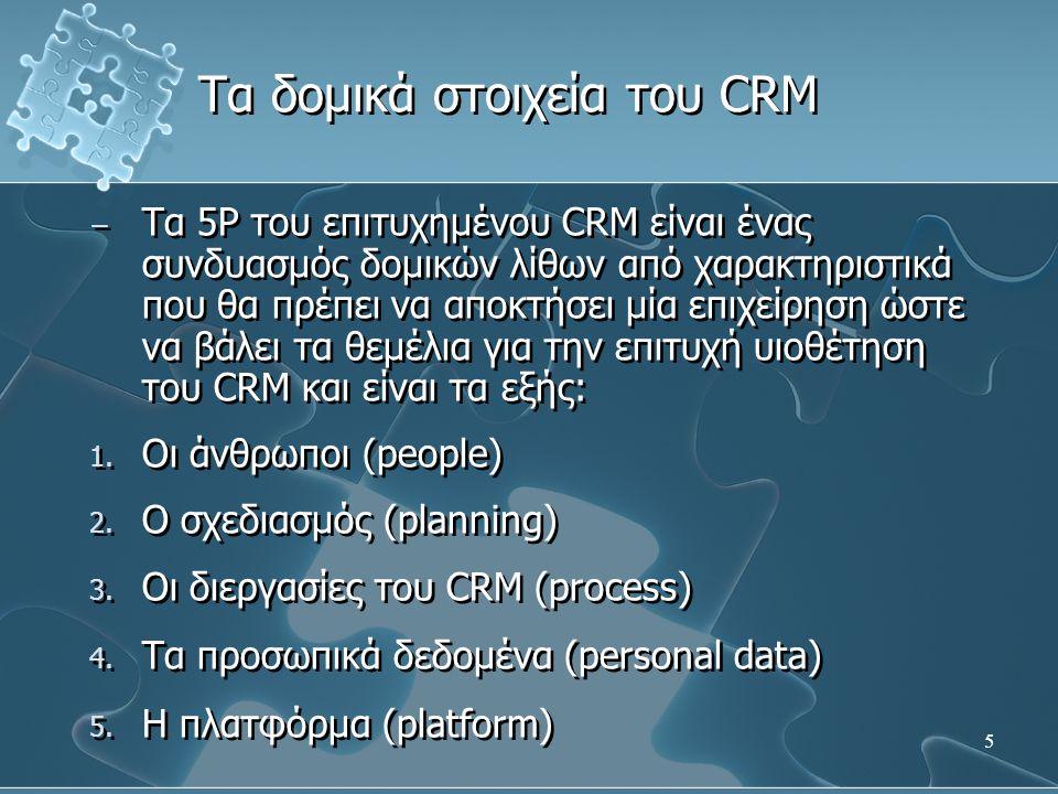 5 − Τα 5P του επιτυχημένου CRM είναι ένας συνδυασμός δομικών λίθων από χαρακτηριστικά που θα πρέπει να αποκτήσει μία επιχείρηση ώστε να βάλει τα θεμέλ