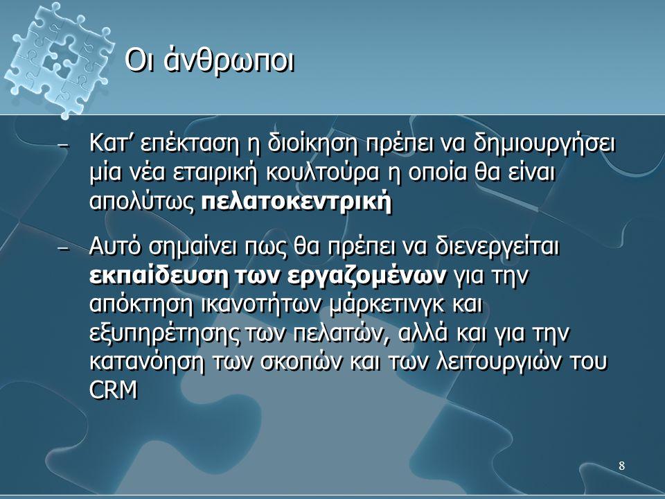 19 − Από τη στιγμή που η επιχείρηση έχει αποκτήσει όλα τα προηγούμενα δομικά στοιχεία, είναι η ώρα για την επιλογή του κατάλληλου λογισμικού, δηλαδή η τεχνολογική πλατφόρμα που θα υποστηρίξει το CRM Πλατφόρμα