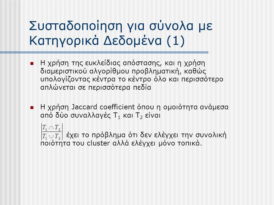 Συσταδοποίηση για σύνολα με Κατηγορικά Δεδομένα (1) Η χρήση της ευκλείδιας απόστασης, και η χρήση διαμεριστικού αλγορίθμου προβληματική, καθώς υπολογί