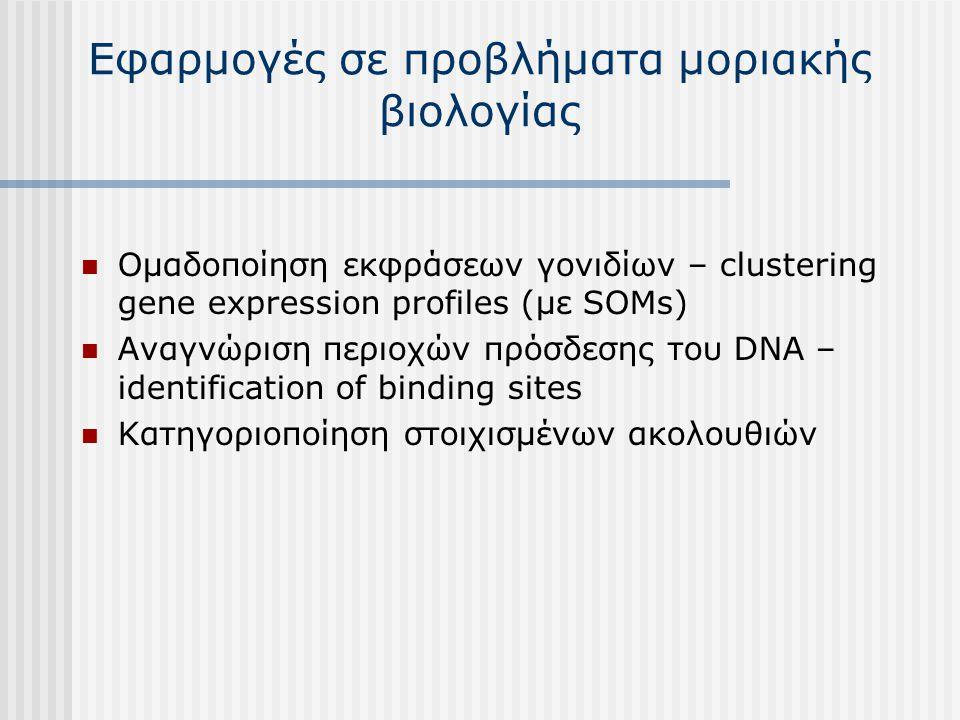 Εφαρμογές σε προβλήματα μοριακής βιολογίας Ομαδοποίηση εκφράσεων γονιδίων – clustering gene expression profiles (με SOMs) Αναγνώριση περιοχών πρόσδεση