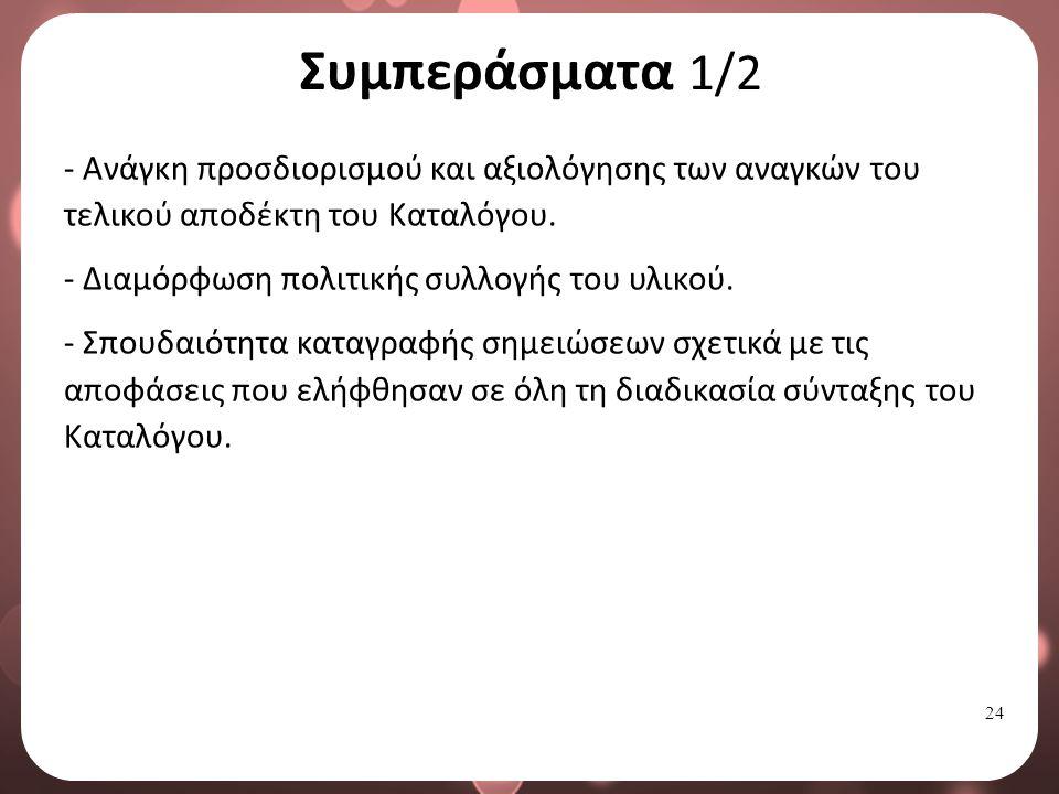 24 Συμπεράσματα 1/2 - Ανάγκη προσδιορισμού και αξιολόγησης των αναγκών του τελικού αποδέκτη του Καταλόγου.