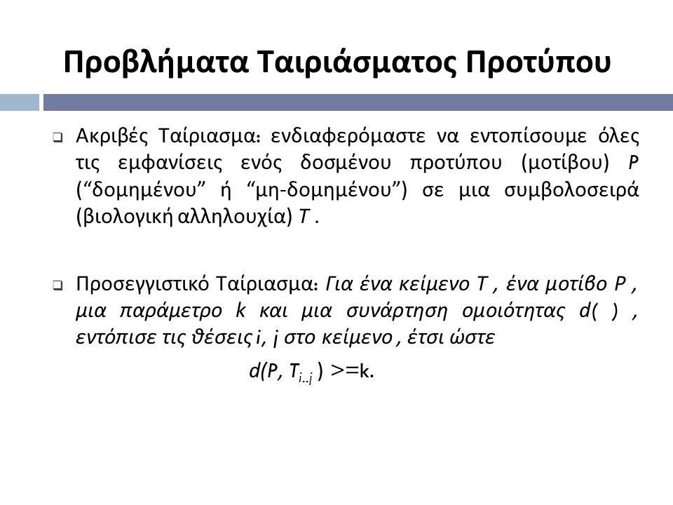 Προβλήματα Ταιριάσματος Προτύπου  Ακριβές Ταίριασμα : ενδιαφερό µ αστε να εντοπίσου µ ε όλες τις ε µ φανίσεις ενός δοσ µ ένου προτύπου (µ οτίβου ) P