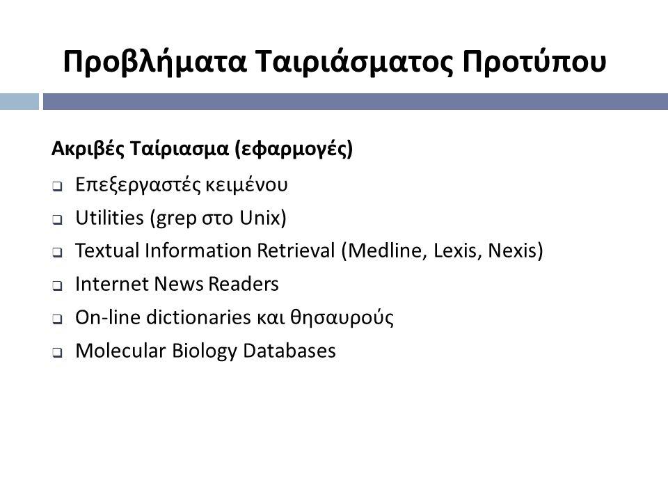 Ακριβές Ταίριασμα ( εφαρμογές )  Επεξεργαστές κειμένου  Utilities (grep στο Unix)  Textual Information Retrieval (Medline, Lexis, Nexis)  Internet