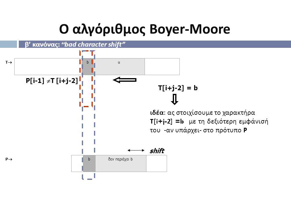 """β ' κανόνας : """" bad character shift"""" TT bu shift ιδέα : ας στοιχίσουμε το χαρακτήρα T[i+j-2] =b με τη δεξιότερη εμφάνισή του - αν υπάρχει - στο πρότ"""