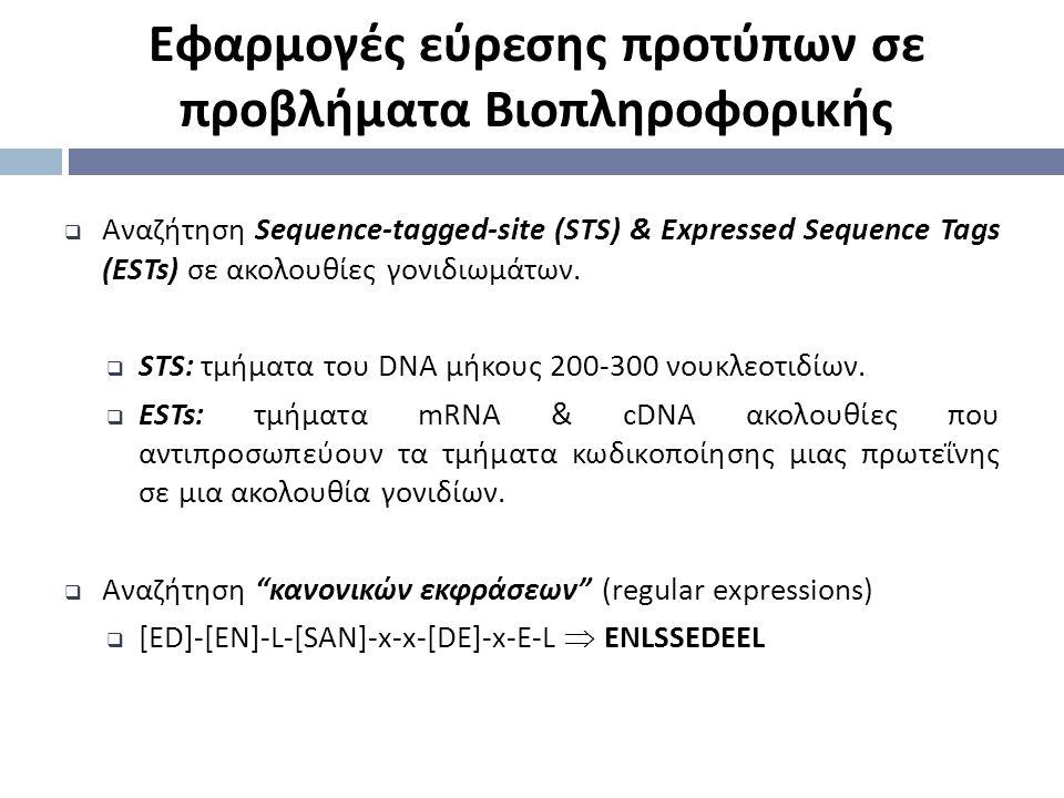 Εφαρμογές εύρεσης προτύπων σε προβλήματα Βιοπληροφορικής  Αναζήτηση Sequence-tagged-site (STS) & Expressed Sequence Tags (ESTs) σε ακολουθίες γονιδιω