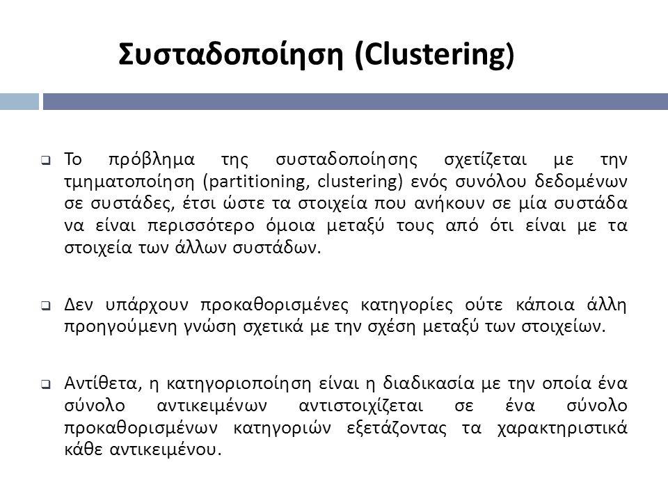  Το πρόβλημα της συσταδοποίησης σχετίζεται με την τμηματοποίηση ( partitioning, clustering ) ενός συνόλου δεδομένων σε συστάδες, έτσι ώστε τα στοιχεί