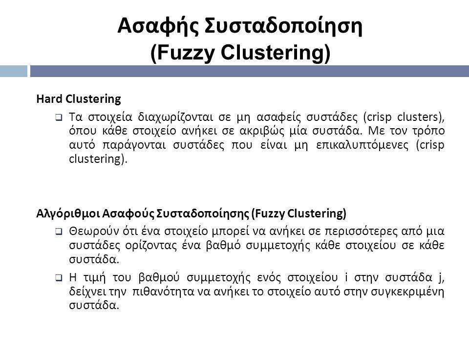 Hard Clustering  Tα στοιχεία διαχωρίζονται σε μη ασαφείς συστάδες (crisp clusters), όπου κάθε στοιχείο ανήκει σε ακριβώς μία συστάδα. Με τον τρόπο αυ