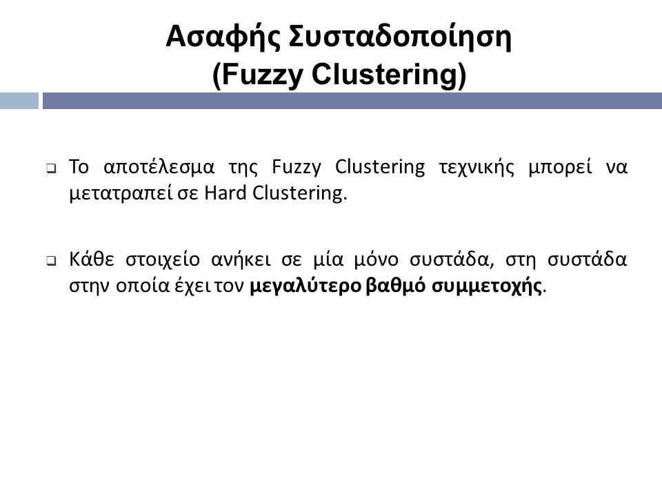  Το αποτέλεσμα της Fuzzy Clustering τεχνικής μπορεί να μετατραπεί σε Hard Clustering.  Κάθε στοιχείο ανήκει σε μία μόνο συστάδα, στη συστάδα στην οπ