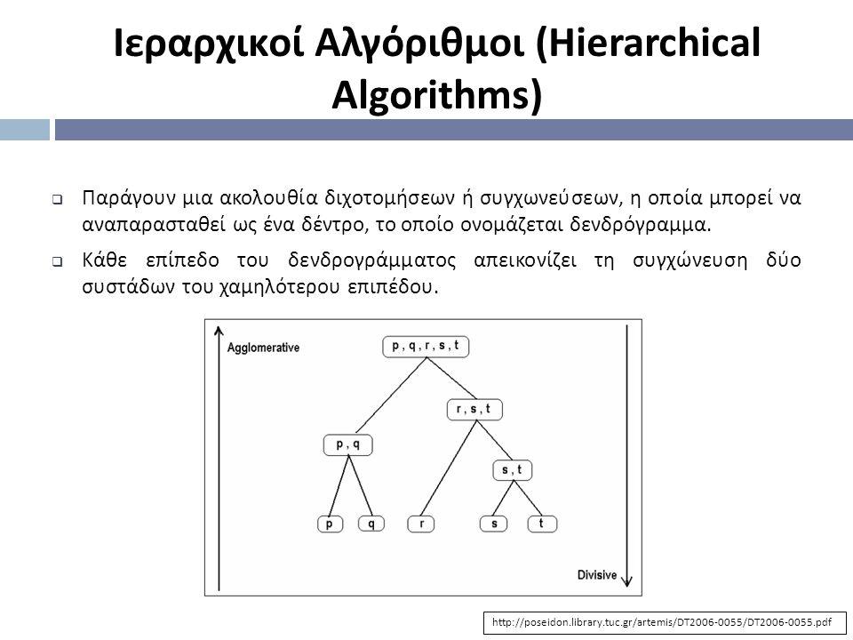  Παράγουν μια ακολουθία διχοτομήσεων ή συγχωνεύσεων, η οποία μπορεί να αναπαρασταθεί ως ένα δέντρο, το οποίο ονομάζεται δενδρόγραμμα.  Κάθε επίπεδο