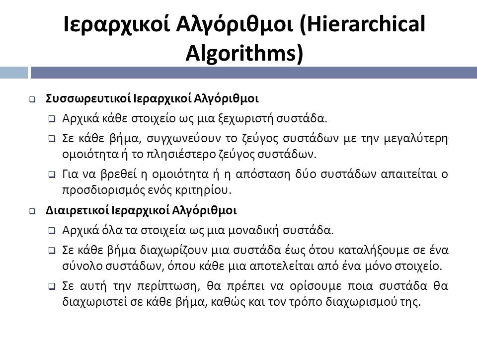  Συσσωρευτικοί Ιεραρχικοί Αλγόριθμοι  Αρχικά κάθε στοιχείο ως μια ξεχωριστή συστάδα.  Σε κάθε βήμα, συγχωνεύουν το ζεύγος συστάδων με την μεγαλύτερ