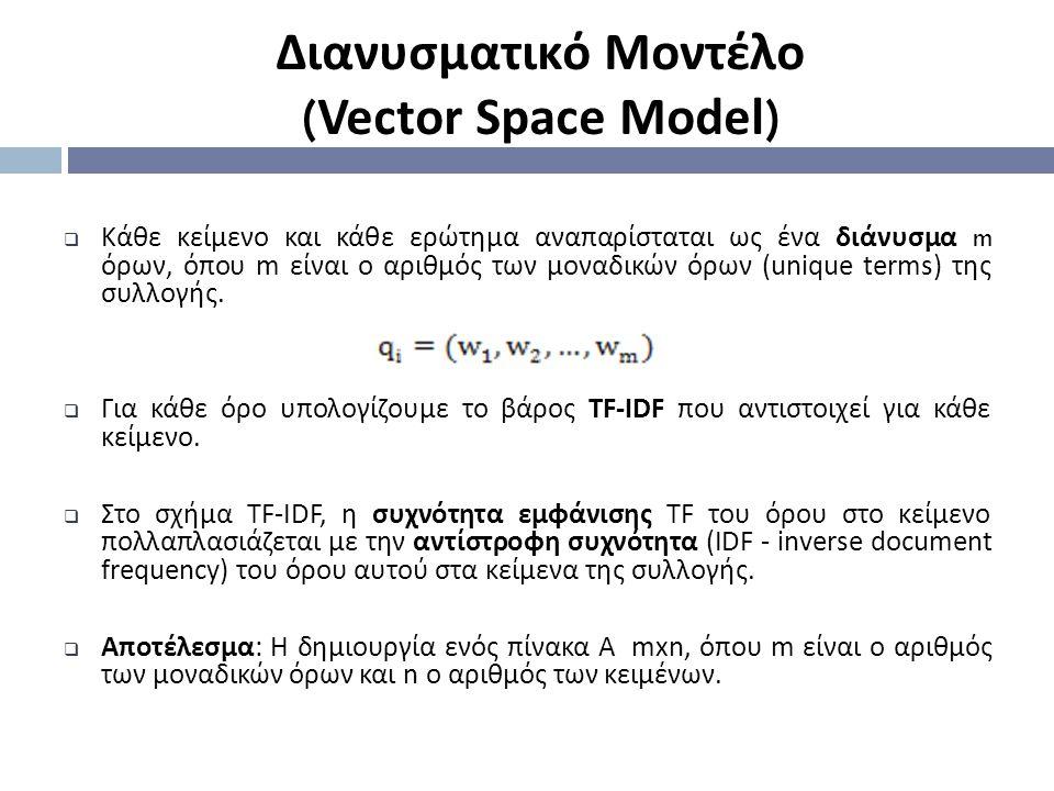 Διανυσματικό Μοντέλο ( Vector Space Model )  Κάθε κείμενο και κάθε ερώτημα αναπαρίσταται ως ένα διάνυσμα m όρων, όπου m είναι ο αριθμός των μοναδικών