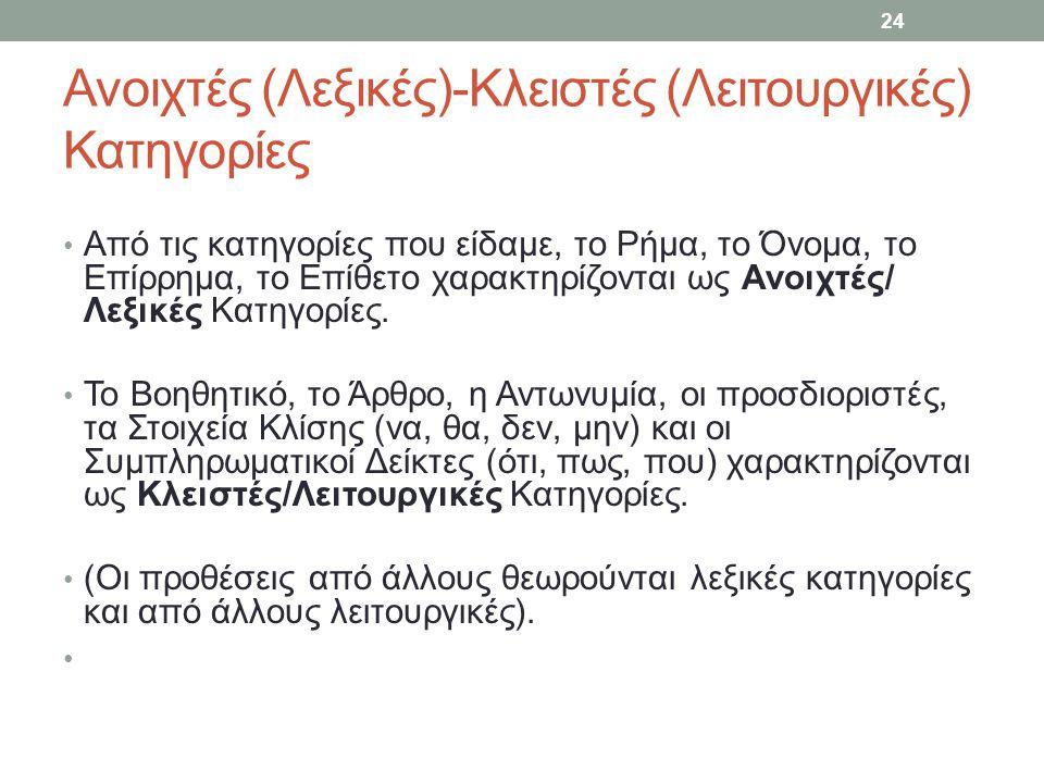 Ανοιχτές (Λεξικές)-Κλειστές (Λειτουργικές) Κατηγορίες Από τις κατηγορίες που είδαμε, το Ρήμα, το Όνομα, το Επίρρημα, το Επίθετο χαρακτηρίζονται ως Ανοιχτές/ Λεξικές Κατηγορίες.