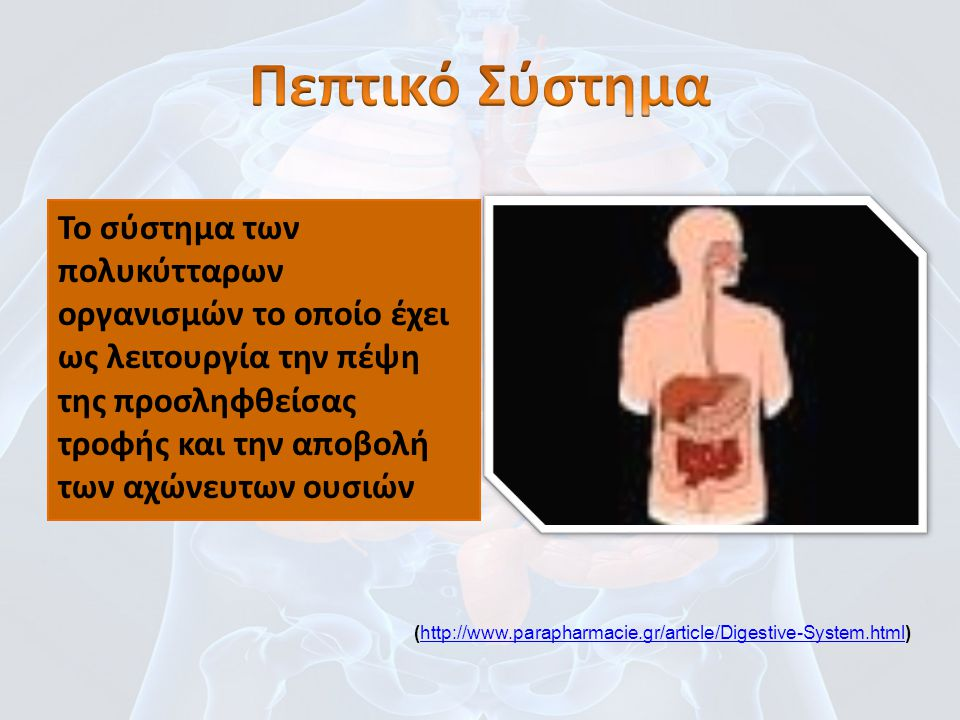 Το σύστημα των πολυκύτταρων οργανισμών το οποίο έχει ως λειτουργία την πέψη της προσληφθείσας τροφής και την αποβολή των αχώνευτων ουσιών (http://www.