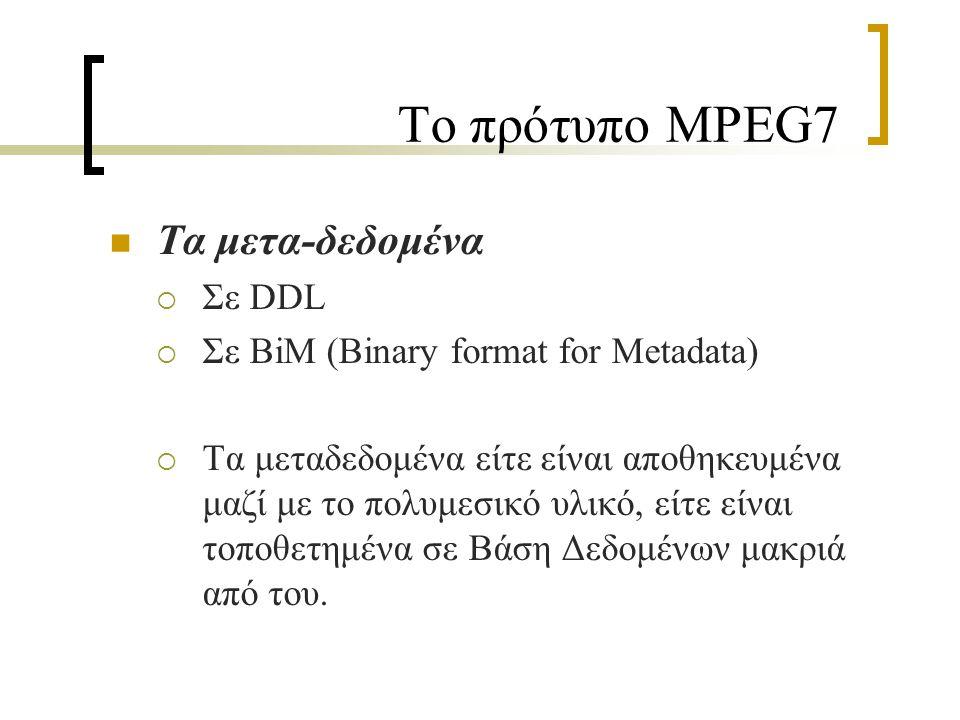 Το πρότυπο MPEG7 Τα μετα-δεδομένα  Σε DDL  Σε BiM (Binary format for Metadata)  Τα μεταδεδομένα είτε είναι αποθηκευμένα μαζί με το πολυμεσικό υλικό, είτε είναι τοποθετημένα σε Βάση Δεδομένων μακριά από του.