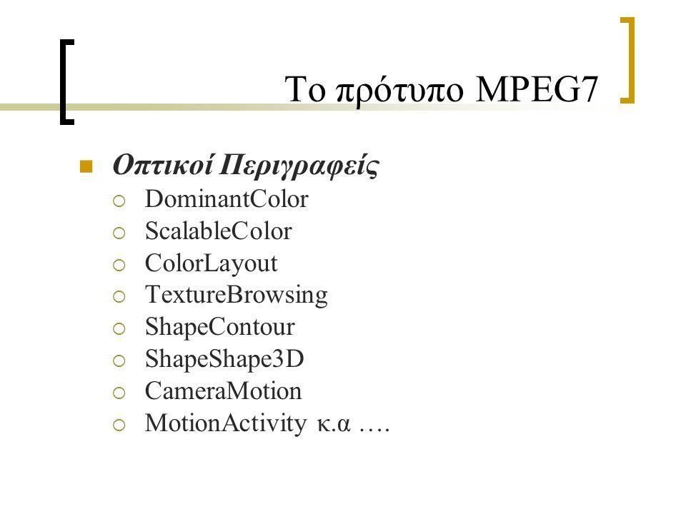 Το πρότυπο MPEG7 Οπτικοί Περιγραφείς  DominantColor  ScalableColor  ColorLayout  TextureBrowsing  ShapeContour  ShapeShape3D  CameraMotion  MotionActivity κ.α ….