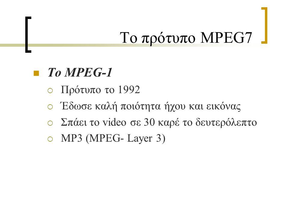 Το πρότυπο MPEG7 Το MPEG-1  Πρότυπο το 1992  Έδωσε καλή ποιότητα ήχου και εικόνας  Σπάει το video σε 30 καρέ το δευτερόλεπτο  MP3 (MPEG- Layer 3)