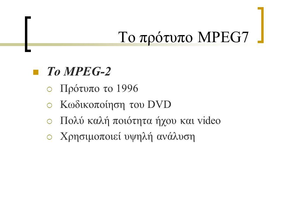 Το πρότυπο MPEG7 Το MPEG-4  Πρότυπο το 1998  Βασίστηκε στο MPEG-1 και MPEG-2  Το πρώτο πρότυπο για αναπαράσταση πολυμέσων  Προοριζόταν για τηλεδιασκέψεις  Έχει πολλές διαφορετικές εκδοχές