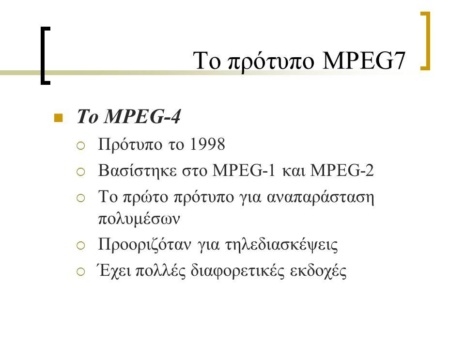 Το πρότυπο MPEG7 Το MPEG-7  Πρότυπο το 2001  Δεν είναι πρότυπο κωδικοποίησης  Ονομάζεται «Multimedia Content Description Interface»  Χρησιμοποιεί τα προηγούμενα πρότυπα MPEG Standards  Στόχος: η διευκόλυνση της αναζήτησης και η διαλειτουργικότητα ανάμεσα στις πολυμεσικές συλλογές