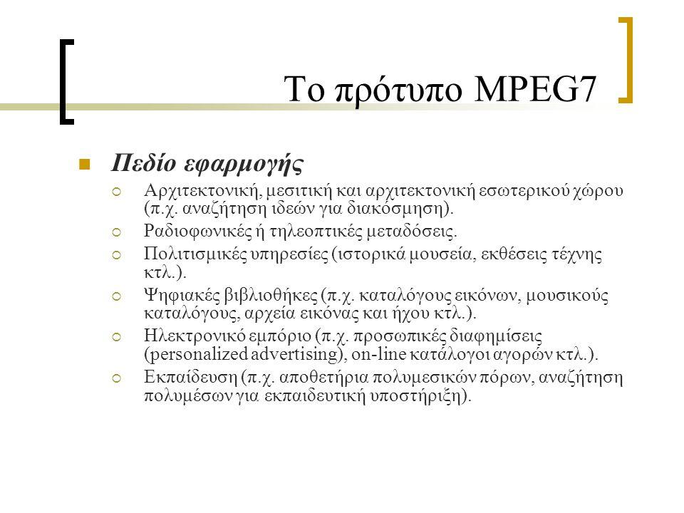 Το πρότυπο MPEG7 Τα Bασικά Σχήματα