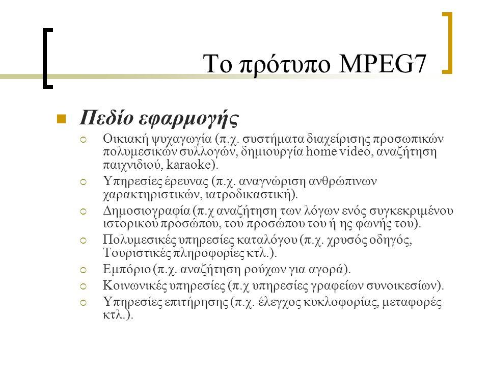Το πρότυπο MPEG7 Πεδίο εφαρμογής  Οικιακή ψυχαγωγία (π.χ.
