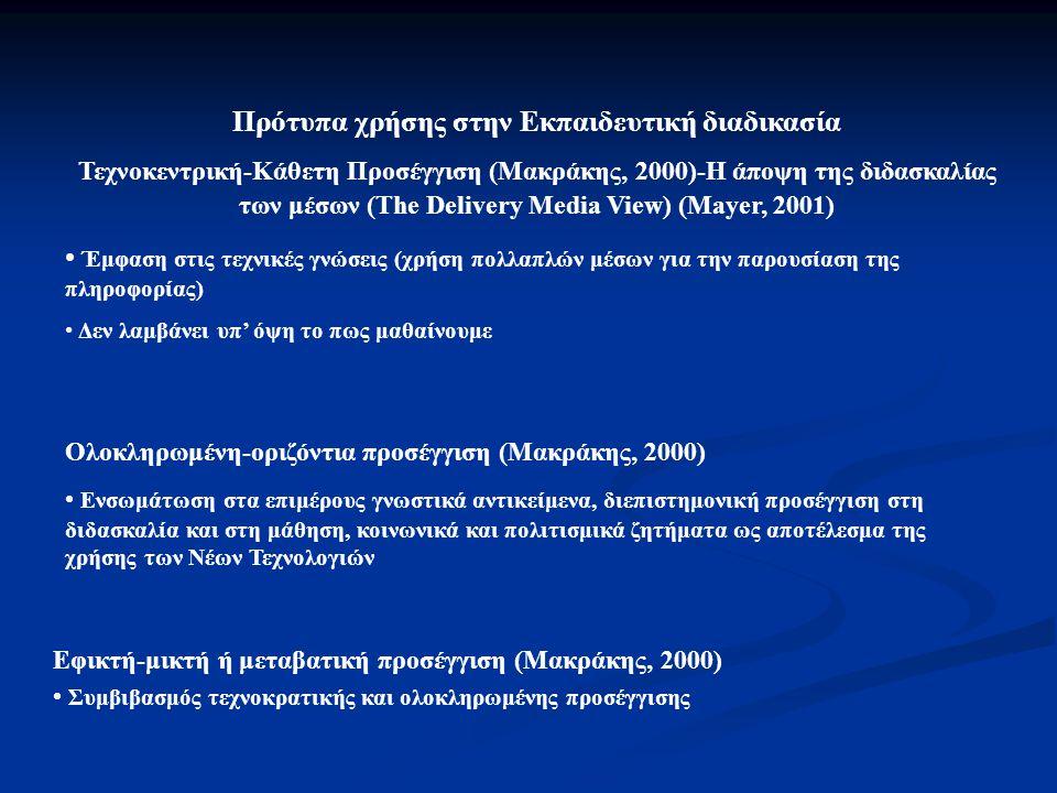 Πρότυπα χρήσης στην Εκπαιδευτική διαδικασία Τεχνοκεντρική-Κάθετη Προσέγγιση (Μακράκης, 2000)-Η άποψη της διδασκαλίας των μέσων (The Delivery Media Vie