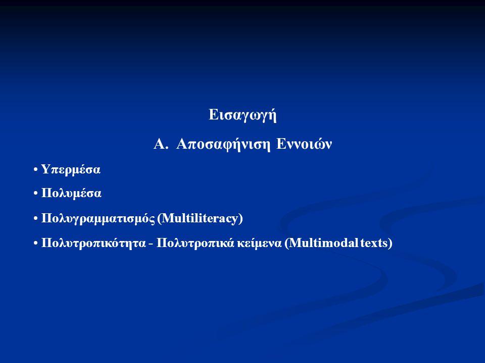 Εισαγωγή Α. Αποσαφήνιση Εννοιών Υπερμέσα Πολυμέσα Πολυγραμματισμός (Multiliteracy) Πολυτροπικότητα - Πολυτροπικά κείμενα (Multimodal texts)