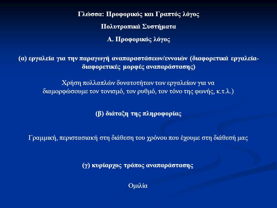 Γλώσσα: Προφορικός και Γραπτός λόγος Πολυτροπικά Συστήματα Α. Προφορικός λόγος (α) εργαλεία για την παραγωγή αναπαραστάσεων/εννοιών (διαφορετικά εργαλ