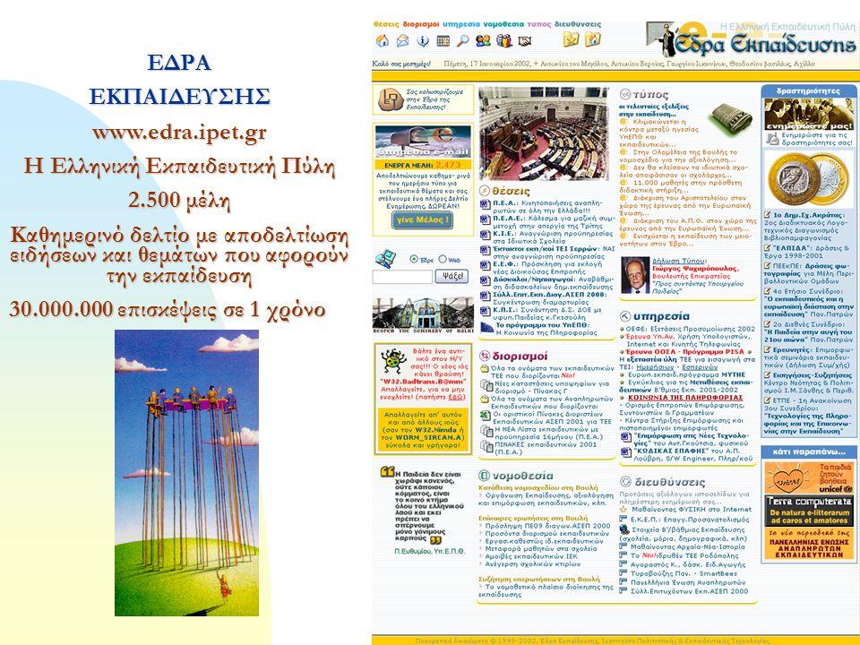 5 ΕΔΡΑΕΚΠΑΙΔΕΥΣΗΣwww.edra.ipet.gr Η Ελληνική Εκπαιδευτική Πύλη 2.500 μέλη Καθημερινό δελτίο με αποδελτίωση ειδήσεων και θεμάτων που αφορούν την εκπαίδευση 30.000.000 επισκέψεις σε 1 χρόνο