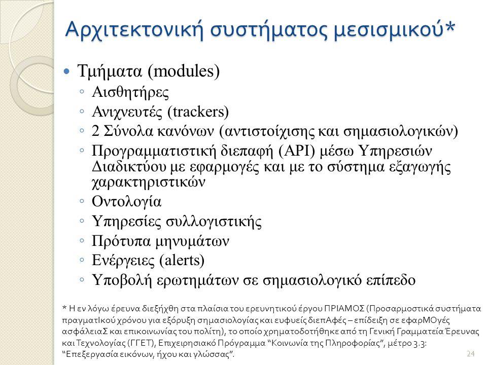 Αρχιτεκτονική συστήματος μεσισμικού * Τμήματα (modules) ◦ Αισθητήρες ◦ Ανιχνευτές (trackers) ◦ 2 Σύνολα κανόνων (αντιστοίχισης και σημασιολογικών) ◦ Προγραμματιστική διεπαφή (API) μέσω Υπηρεσιών Διαδικτύου με εφαρμογές και με το σύστημα εξαγωγής χαρακτηριστικών ◦ Οντολογία ◦ Υπηρεσίες συλλογιστικής ◦ Πρότυπα μηνυμάτων ◦ Ενέργειες (alerts) ◦ Υποβολή ερωτημάτων σε σημασιολογικό επίπεδο * Η εν λόγω έρευνα διεξήχθη στα πλαίσια του ερευνητικού έργου ΠΡΙΑΜΟΣ (Προσαρμοστικά συστήματα πραγματΙκού χρόνου για εξόρυξη σημασιολογίας και ευφυείς διεπΑφές – επίδειξη σε εφαρΜΟγές ασφάλειαΣ και επικοινωνίας του πολίτη), το οποίο χρηματοδοτήθηκε από τη Γενική Γραμματεία Έρευνας και Τεχνολογίας (ΓΓΕΤ), Επιχειρησιακό Πρόγραμμα Κοινωνία της Πληροφορίας , μέτρο 3.3: Επεξεργασία εικόνων, ήχου και γλώσσας .
