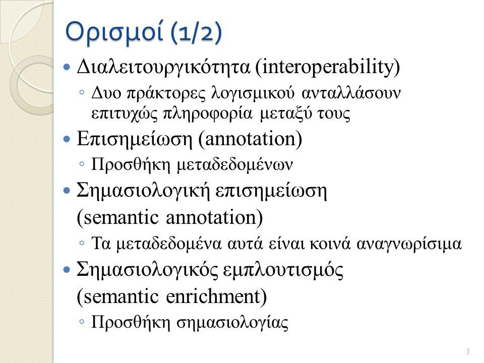 Ορισμοί (1/2) Διαλειτουργικότητα (interoperability) ◦ Δυο πράκτορες λογισμικού ανταλλάσουν επιτυχώς πληροφορία μεταξύ τους Επισημείωση (annotation) ◦ Προσθήκη μεταδεδομένων Σημασιολογική επισημείωση (semantic annotation) ◦ Τα μεταδεδομένα αυτά είναι κοινά αναγνωρίσιμα Σημασιολογικός εμπλουτισμός (semantic enrichment) ◦ Προσθήκη σημασιολογίας 3