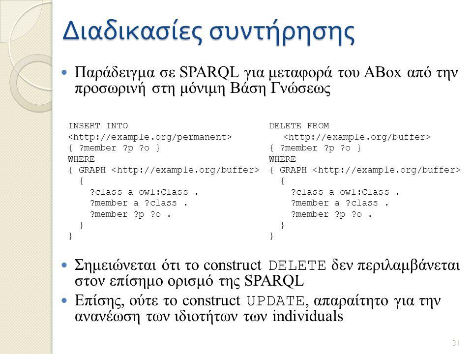 Διαδικασίες συντήρησης Παράδειγμα σε SPARQL για μεταφορά του ABox από την προσωρινή στη μόνιμη Βάση Γνώσεως Σημειώνεται ότι το construct DELETE δεν περιλαμβάνεται στον επίσημο ορισμό της SPARQL Επίσης, ούτε το construct UPDATE, απαραίτητο για την ανανέωση των ιδιοτήτων των individuals DELETE FROM { member p o } WHERE { GRAPH { class a owl:Class.