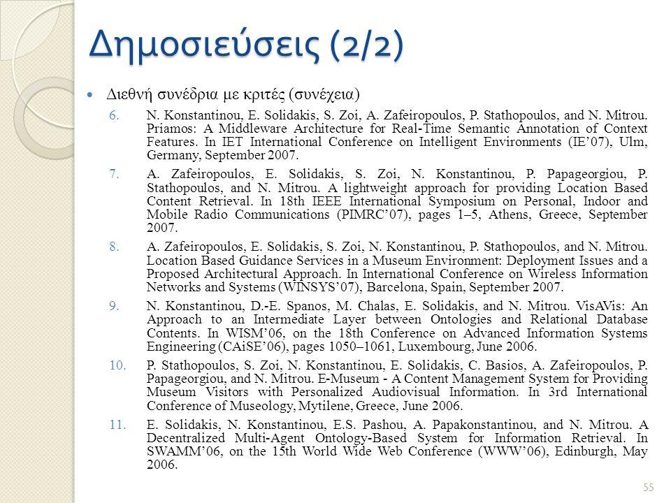 Δημοσιεύσεις (2/2) Διεθνή συνέδρια με κριτές (συνέχεια) 6.N. Konstantinou, E. Solidakis, S. Zoi, A. Zafeiropoulos, P. Stathopoulos, and N. Mitrou. Pri