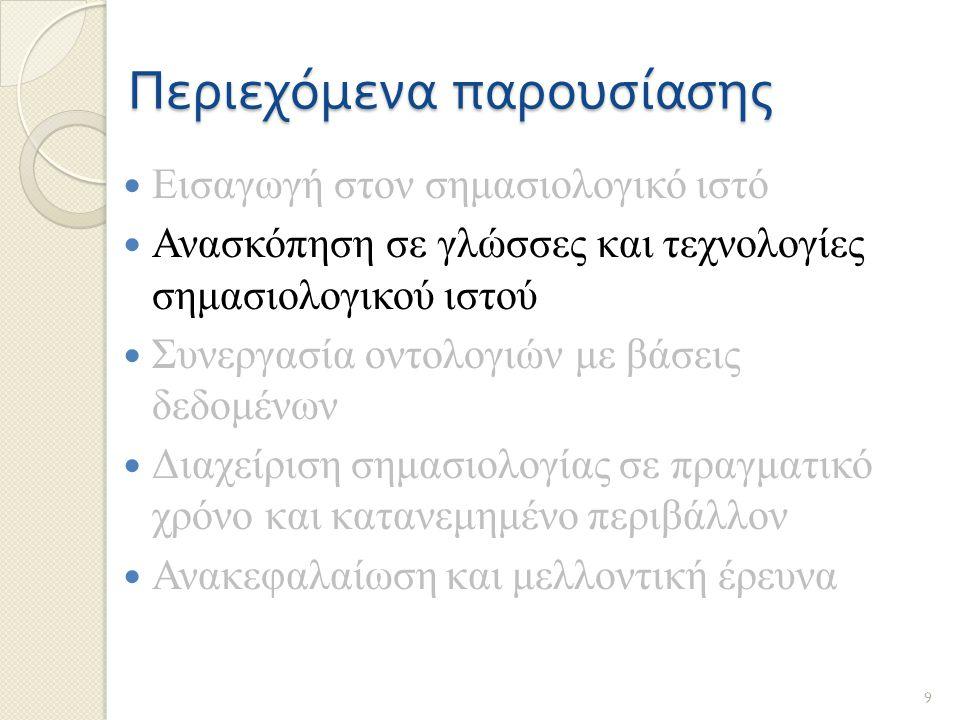 Περιεχόμενα παρουσίασης Εισαγωγή στον σημασιολογικό ιστό Ανασκόπηση σε γλώσσες και τεχνολογίες σημασιολογικού ιστού Συνεργασία οντολογιών με βάσεις δε