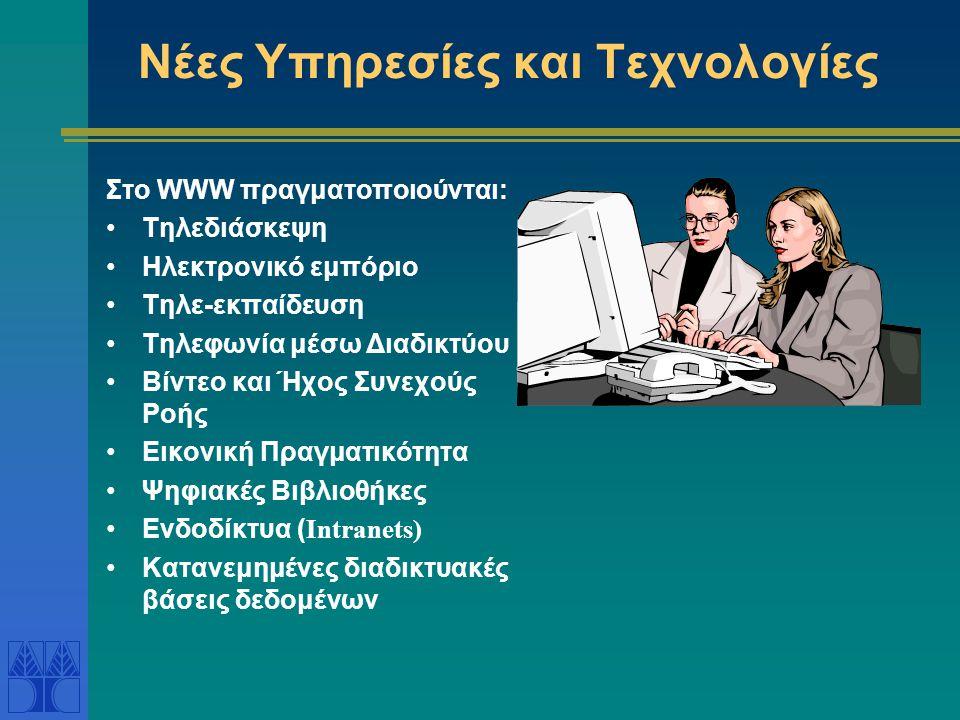 Νέες Υπηρεσίες και Τεχνολογίες Στο WWW πραγματοποιούνται: Τηλεδιάσκεψη Ηλεκτρονικό εμπόριο Τηλε-εκπαίδευση Τηλεφωνία μέσω Διαδικτύου Βίντεο και Ήχος Συνεχούς Ροής Εικονική Πραγματικότητα Ψηφιακές Βιβλιοθήκες Ενδοδίκτυα ( Intranets) Κατανεμημένες διαδικτυακές βάσεις δεδομένων