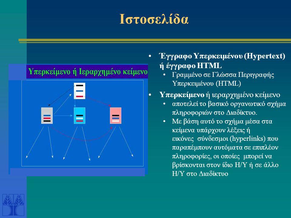 Ιστοσελίδα Έγγραφο Υπερκειμένου (Hypertext) ή έγγραφο HTML Γραμμένο σε Γλώσσα Περιγραφής Υπερκειμένου (HTML) Υπερκείμενο ή ιεραρχημένο κείμενο αποτελεί το βασικό οργανωτικό σχήμα πληροφοριών στο Διαδίκτυο.