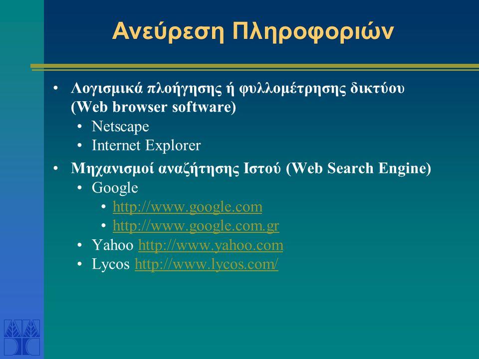 Ανεύρεση Πληροφοριών Λογισμικά πλοήγησης ή φυλλομέτρησης δικτύου (Web browser software) Netscape Internet Explorer Μηχανισμοί αναζήτησης Ιστού (Web Search Engine) Google http://www.google.com http://www.google.com.gr Yahoo http://www.yahoo.comhttp://www.yahoo.com Lycos http://www.lycos.com/http://www.lycos.com/