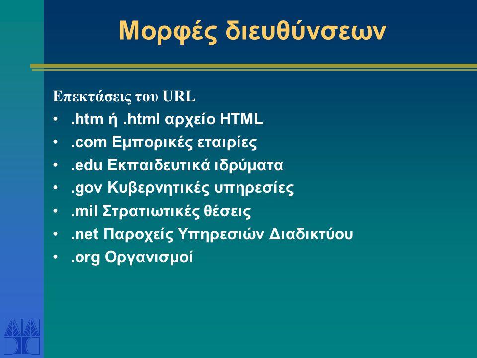 Μορφές διευθύνσεων Επεκτάσεις του URL.htm ή.html αρχείο HTML.com Εμπορικές εταιρίες.edu Εκπαιδευτικά ιδρύματα.gov Κυβερνητικές υπηρεσίες.mil Στρατιωτικές θέσεις.net Παροχείς Υπηρεσιών Διαδικτύου.org Οργανισμοί
