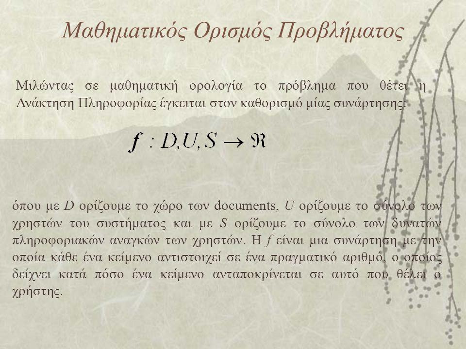 Μαθημaτικός Ορισμός Προβλήματος Μιλώντας σε μαθηματική ορολογία το πρόβλημα που θέτει η Ανάκτηση Πληροφορίας έγκειται στον καθορισμό μίας συνάρτησης: