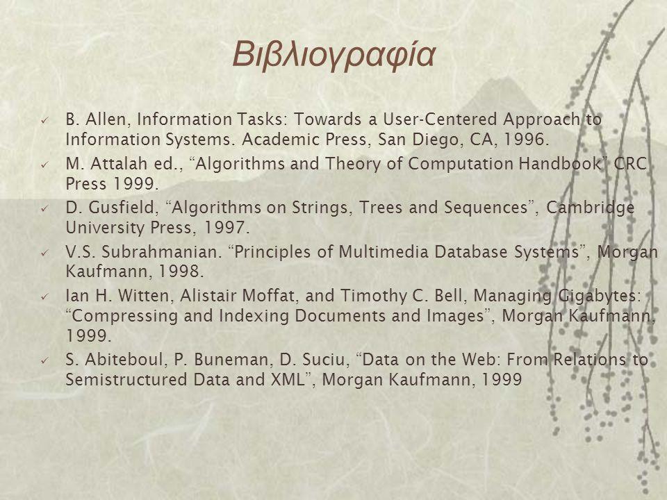 Βιβλιογραφία B. Allen, Information Tasks: Towards a User-Centered Approach to Information Systems. Academic Press, San Diego, CA, 1996. M. Attalah ed.