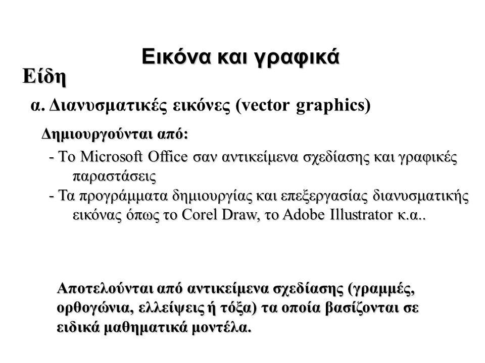 Εικόνα και γραφικά Δημιουργούνται από: Είδη Αποτελούνται από αντικείμενα σχεδίασης (γραμμές, ορθογώνια, ελλείψεις ή τόξα) τα οποία βασίζονται σε ειδικ