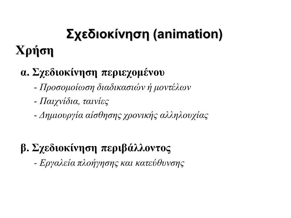 α. Σχεδιοκίνηση περιεχομένου Σχεδιοκίνηση (animation) β. Σχεδιοκίνηση περιβάλλοντος Χρήση - Προσομοίωση διαδικασιών ή μοντέλων - Παιχνίδια, ταινίες -