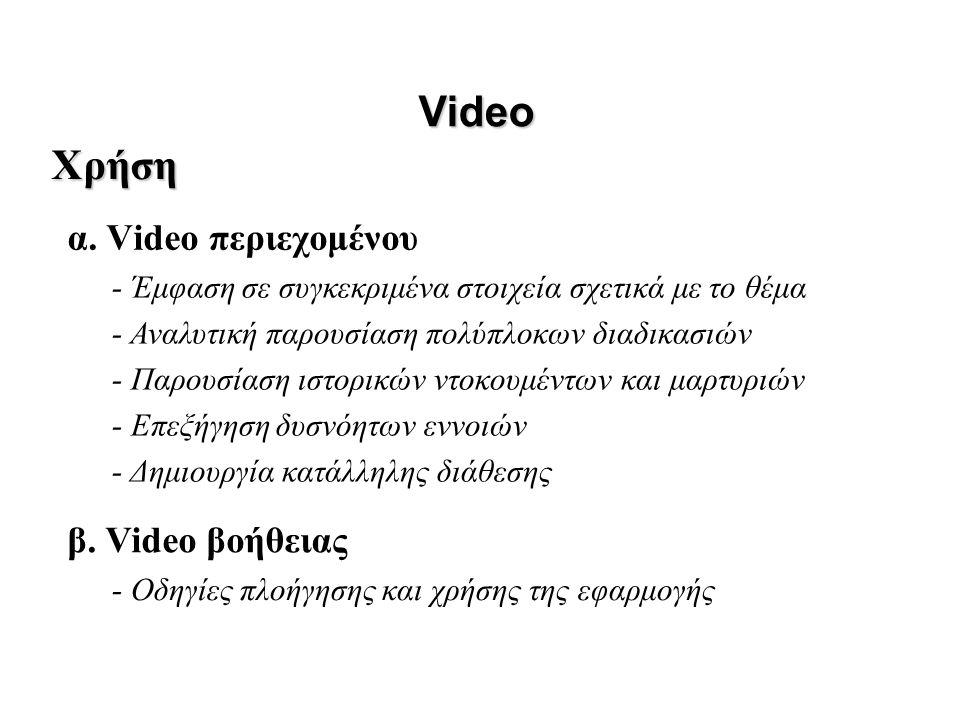 α. Video περιεχομένου Video β. Video βοήθειας Χρήση - Έμφαση σε συγκεκριμένα στοιχεία σχετικά με το θέμα - Αναλυτική παρουσίαση πολύπλοκων διαδικασιών