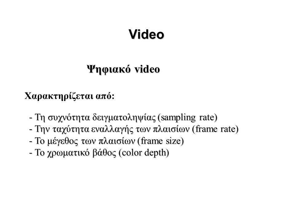 Ψηφιακό video Video - Τη συχνότητα δειγματοληψίας (sampling rate) - Την ταχύτητα εναλλαγής των πλαισίων (frame rate) - Το μέγεθος των πλαισίων (frame