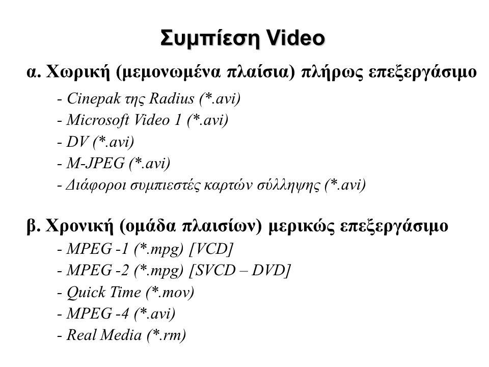 α. Χωρική (μεμονωμένα πλαίσια) πλήρως επεξεργάσιμο Συμπίεση Video β. Χρονική (ομάδα πλαισίων) μερικώς επεξεργάσιμο - Cinepak της Radius (*.avi) - Micr