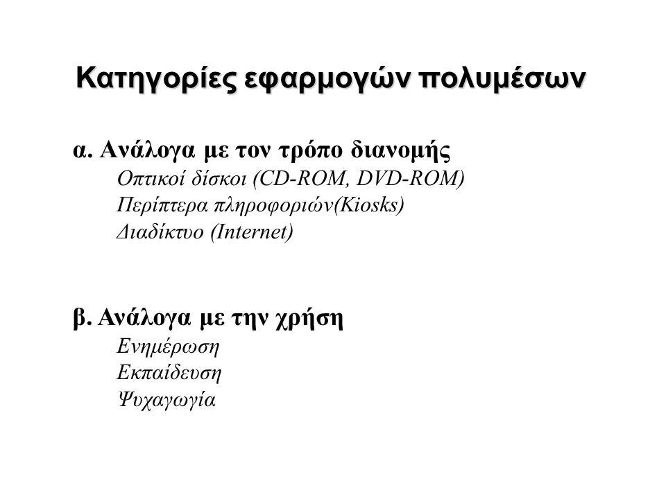 α. Ανάλογα με τον τρόπο διανομής Οπτικοί δίσκοι (CD-ROM, DVD-ROM) Περίπτερα πληροφοριών(Kiosks) Διαδίκτυο (Internet) Κατηγορίες εφαρμογών πολυμέσων β.