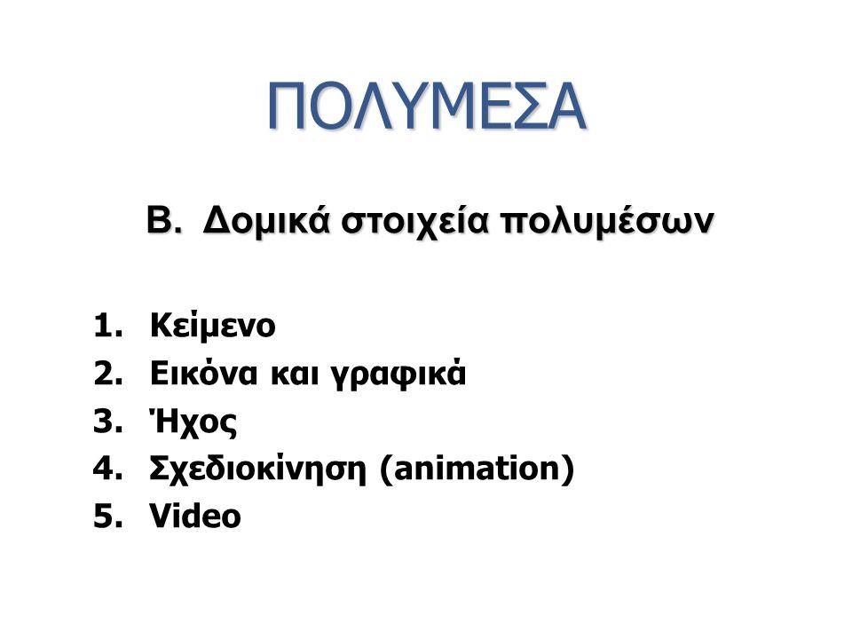 ΠΟΛΥΜΕΣΑ 1.Κείμενο 2.Εικόνα και γραφικά 3.Ήχος 4.Σχεδιοκίνηση (animation) 5.Video B. Δομικά στοιχεία πολυμέσων