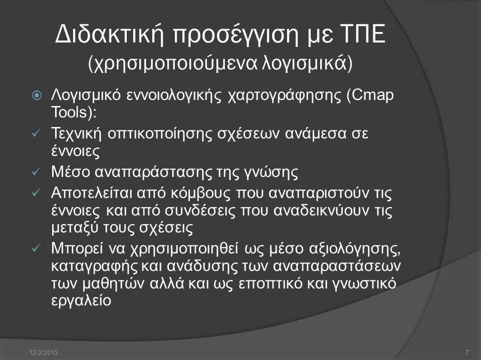Διδακτική προσέγγιση με ΤΠΕ (χρησιμοποιούμενα λογισμικά)  Λογισμικό Hot Potatoes: Πρόγραμμα δημιουργίας ασκήσεων και φύλλων εργασίας Παρέχει τη δυνατότητα δημιουργίας ασκήσεων με τη μορφή ιστοσελίδων Πρόσβαση από μαθητές είτε μέσω διαδικτύου είτε μέσα από το σχολικό δίκτυο (αποθήκευση δεδομένων στο τοπικό δίκτυο) Οι δημιουργούμενες ασκήσεις είναι κλειστού τύπου και έχουν συμπεριφορικό χαρακτήρα Παρέχει δυνατότητες για ανατροφοδότηση (feedback) 12/2/20158