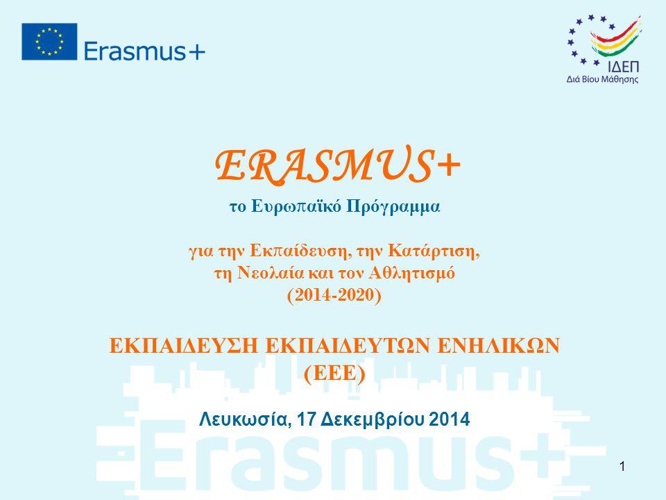 ERASMUS+ το Ευρω π αϊκό Πρόγραμμα για την Εκ π αίδευση, την Κατάρτιση, τη Νεολαία και τον Αθλητισμό (2014-2020) ΕΚΠΑΙΔΕΥΣΗ ΕΚΠΑΙΔΕΥΤΩΝ ΕΝΗΛΙΚΩΝ ( ΕΕΕ ) Λευκωσία, 17 Δεκεμβρίου 2014 1